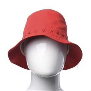 Hermés red bucket hat, embroidered H logo band